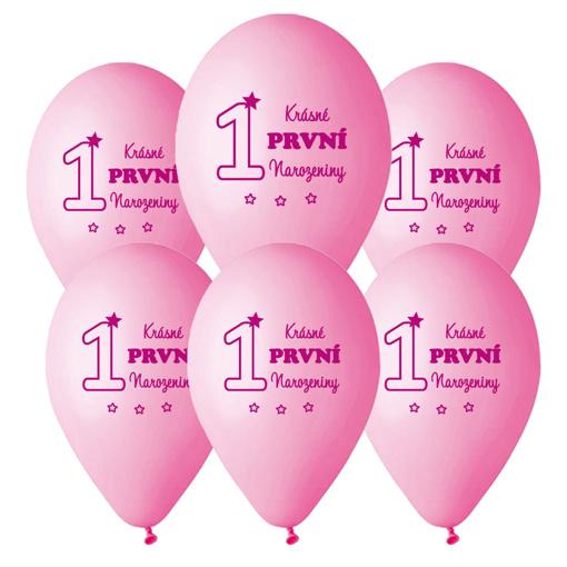 Obrázok z Balonky Krásné první narozeniny růžové - 6 ks