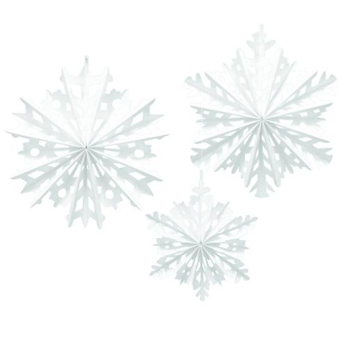 Obrázok z Vánoční rozety bílé vločky 30 až 40 cm - 3 ks
