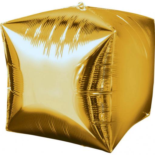 Obrázok z Foliový balonek kostka zlatá 38 x 38 cm