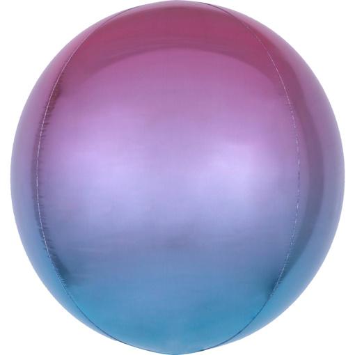 Obrázok z Foliový balonek koule Ombre Orbz fialová a modrá 40 cm