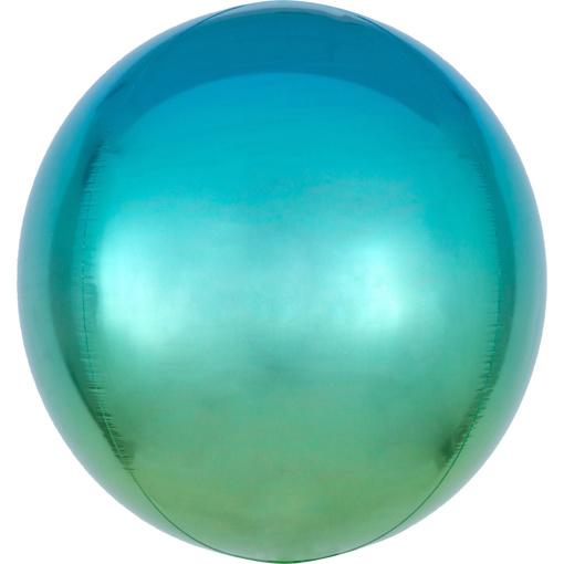Obrázok z Foliový balonek koule Ombre Orbz modrá a zelená 40 cm