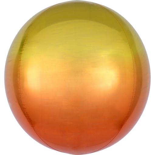 Obrázok z Foliový balonek koule Ombre Orbz žlutá a oranžová 40 cm
