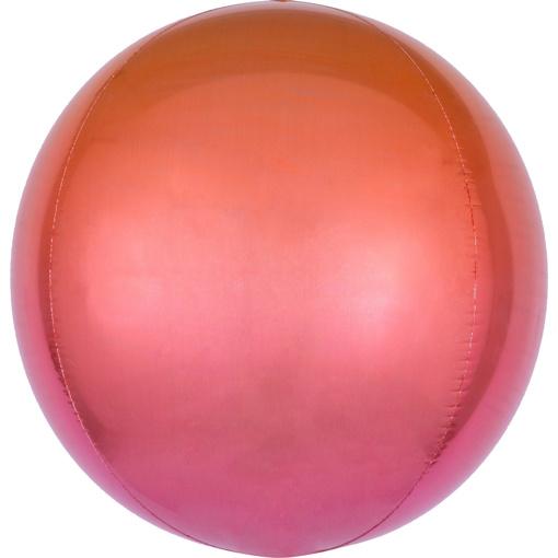 Obrázok z Foliový balonek koule Ombre Orbz červená a oranžová 40 cm