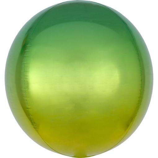 Obrázok z Foliový balonek koule Ombre Orbz žlutá a zelená 40 cm