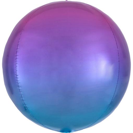 Obrázok z Foliový balonek koule Ombre Orbz červená a modrá 40 cm