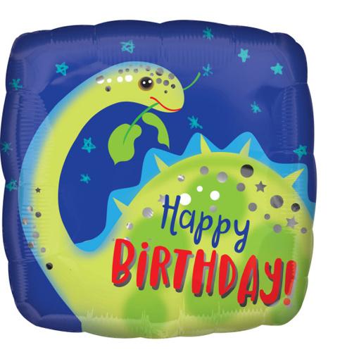 Obrázok z Foliový  balonek čtverec Dino - Happy Birthday 43 cm