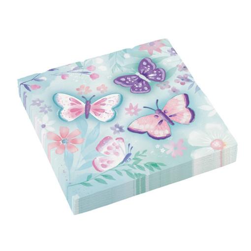 Obrázok z Papírové party ubrousky Motýlci 16 ks