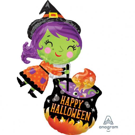 Obrázok z Foliový balonek halloween - čarodejnice a kotlík 63 x 71 cm