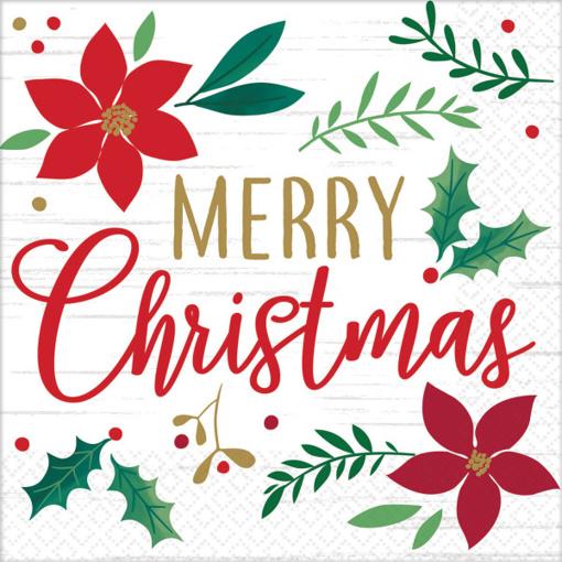 Obrázok z Papírové vánoční ubrousky Merry Christmas - barevné 16 ks