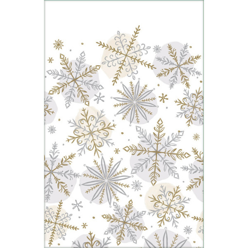 Obrázok z Papírový vánoční ubrus - vločky 259 x 137 cm