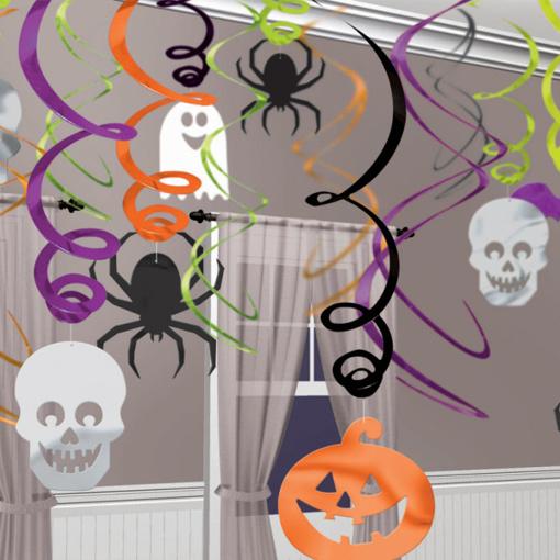 Obrázok z Závěsné spirály Halloween - pavouk - lebka - dýně 30 ks