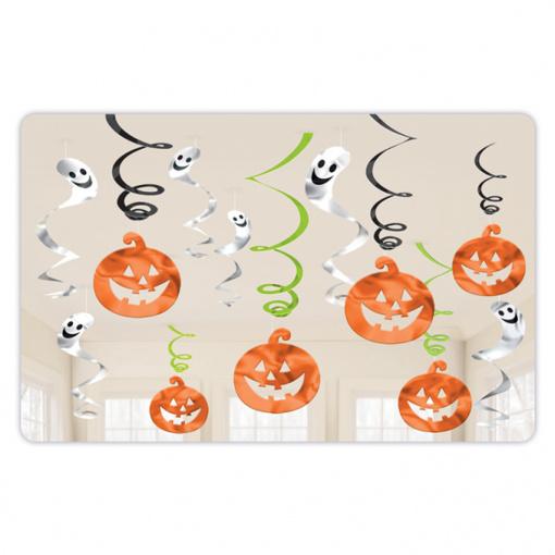 Obrázok z Závěsné spirály Halloween dýně a duch 12 ks