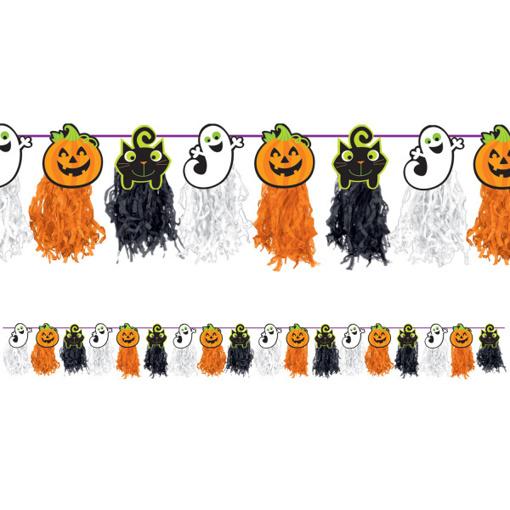 Obrázok z Girlanda Halloween střapce oranžovo-černé 24 x 243 cm