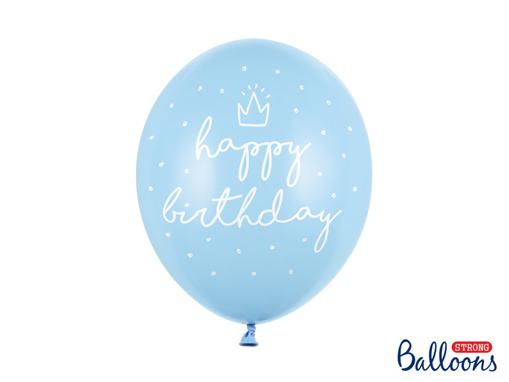 Obrázok z Latexové balonky Happy Birthday světle modré 30 cm - 6 ks