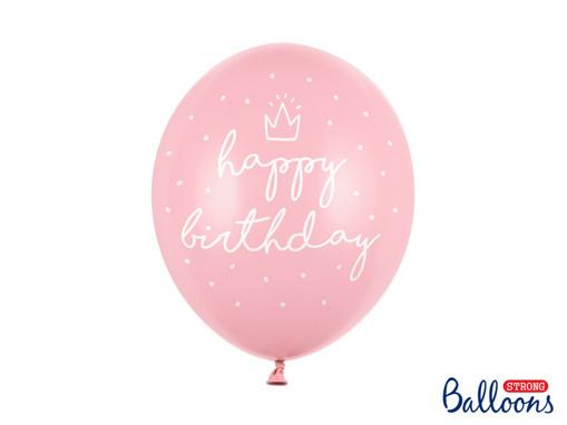 Obrázok z Latexové balonky Happy Birthday světle růžové 30 cm - 6 ks