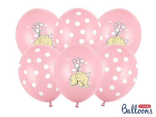 Obrázok z Latexové balonky Sloník - světle růžové 30 cm - 6 ks