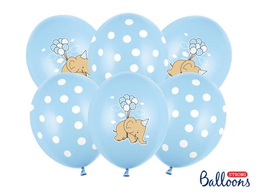 Obrázok z Latexové balonky Sloník - světle modré 30 cm - 6 ks