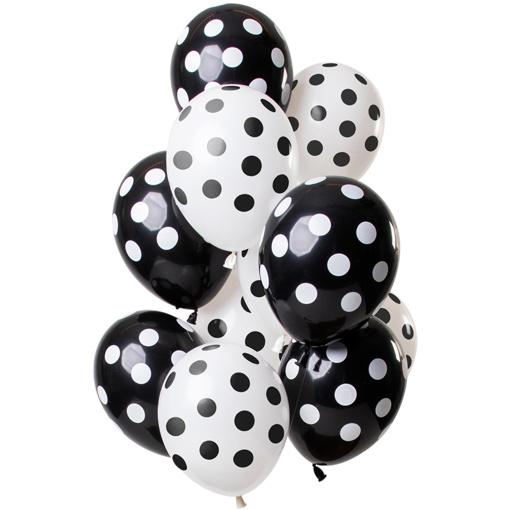 Obrázok z Latexové balonky černo-bílé 30 cm - 12 ks