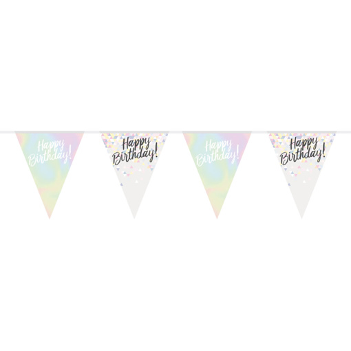 Obrázok z Vlaječková girlanda perleťová Happy Birthday 400 cm