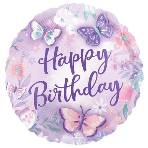 Obrázok z Foliový balonek Motýlci - Happy Birthday 43 cm