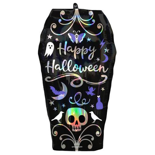 Obrázok z Foliový balonek Happy halloween - rakev holografický 68 cm
