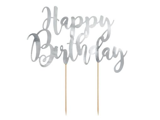 Obrázok z Dekorácia na tortu nápis Happy Birthday - strieborné 22 cm