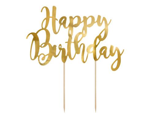 Obrázok z Dekorácia na tortu nápis Happy Birthday 22 cm - Zlotý