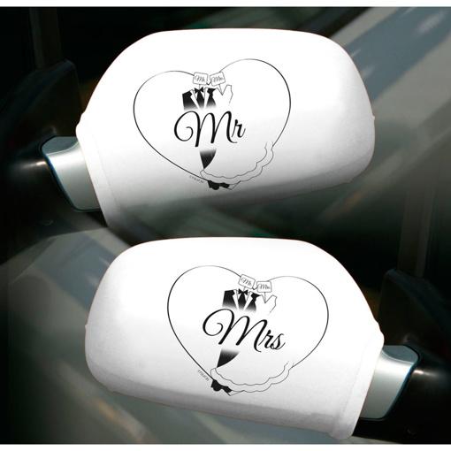 Obrázok z Dekorace na zrcátka auta Mr a Mrs -  2 ks