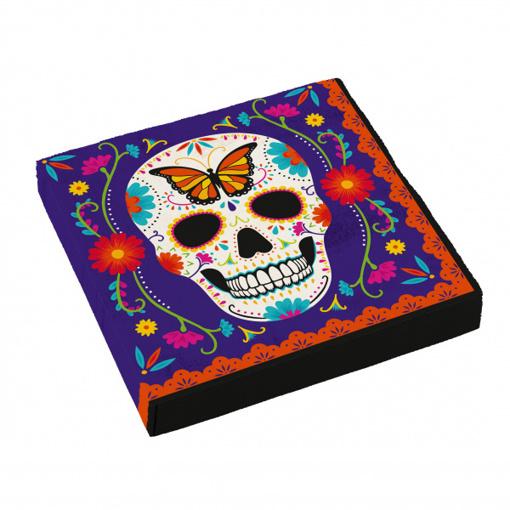 Obrázok z Papírové party ubrousky Halloween - Day of the dead - barevné 16 ks