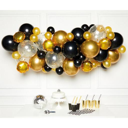 Obrázok z Sada na Balónovů girlandu čierno-zlatá - Amscan