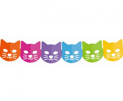 Obrázok z Papírová girlanda kočička - barevná 360 cm
