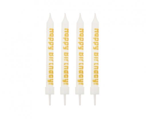 Obrázok z Dortové svíčky s glitrovým nápisem Happy Birthday 12 ks