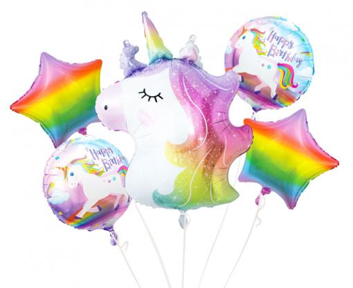 Obrázok z Sada foliových balonků duhový Jednorožec - 5 ks