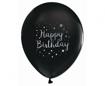 Obrázok z Latexové balonky bílá-černá Happy Birthday - 30 cm - 5 ks