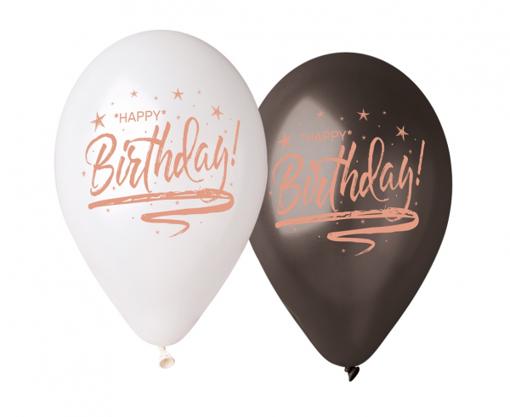 Obrázok z Latexové balonky bílá-černá Happy Birthday - 33 cm - 5 ks