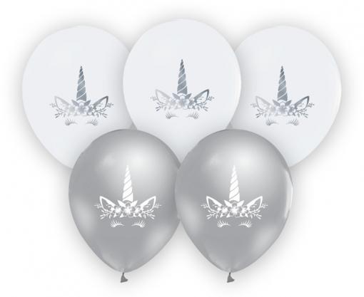 Obrázok z Latexové balonky stříbrná - bílá Jednorožec 30 cm - 5 ks