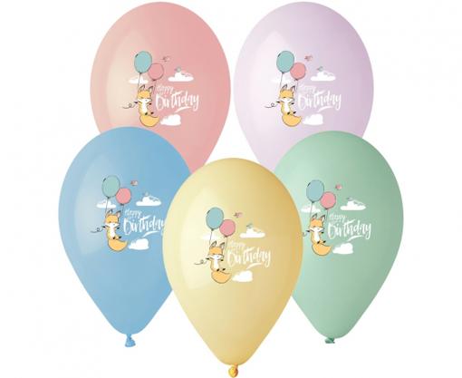 Obrázok z Latexové balonky Pastel Animals - Happy Birthday 33 cm - 5 ks
