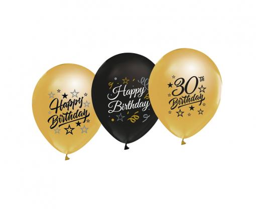 Obrázok z Latexové balonky metalické Happy Birthday s číslem 30 - 5 ks