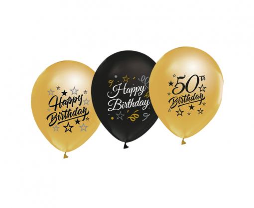Obrázok z Latexové balonky metalické Happy Birthday s číslem 50 - 5 ks