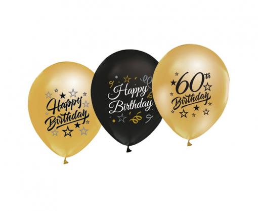 Obrázok z Latexové balonky metalické Happy Birthday s číslem 60 - 5 ks
