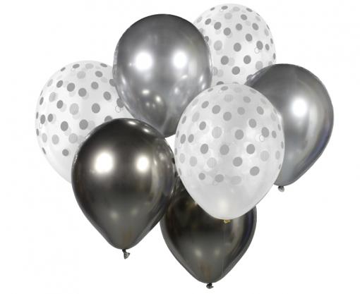 Obrázok z Balonkový buket Chrome Stříbro-Grafitový - 7 ks