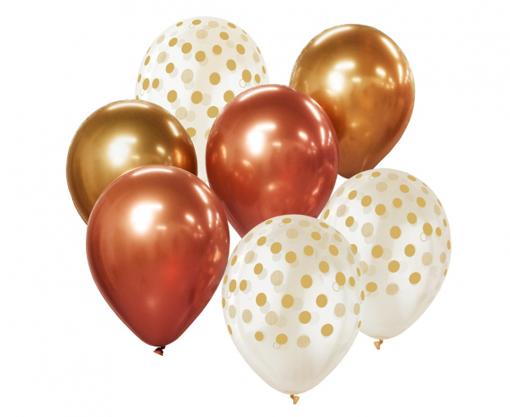 Obrázok z Balonkový buket Chrome Zlato-měděný - 7 ks