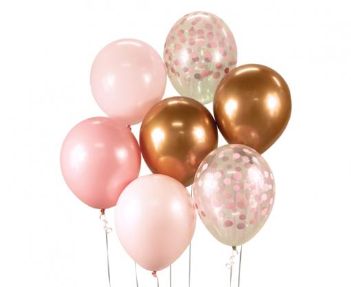 Obrázok z Balonkový buket Chrome Růžovo-měděný - 7 ks