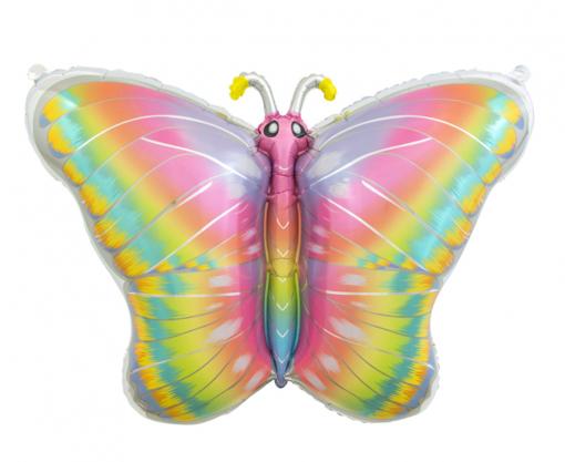 Obrázok z Foliový balonek - Motýl Pastel Rainbow - 64 x 53cm
