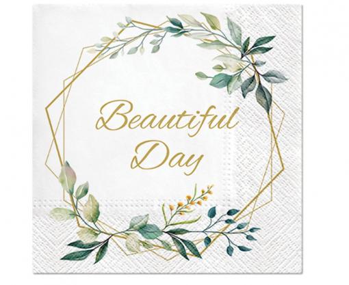 Obrázok z Papírové ubrousky Beautiful Day - Lístky a rám - 20 ks